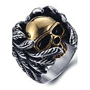 男性用 ステートメントリング 指輪 ファッション チタン鋼 スカル ジュエリー 用途 Halloween 日常 カジュアル