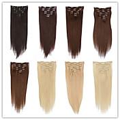 ファッションの女性は、ヘアエクステンションの未処理の最高品質のブラジルのバージンヘアクリップインヘアエクステンション人毛100%ソフトで滑らかな絹のようなストレート