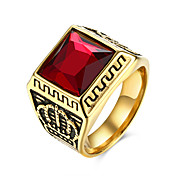 男性用 指輪 あり 欧風 コスチュームジュエリー ステンレス鋼 チタン鋼 ガラス クラウン ジュエリー 用途 パーティー 日常 カジュアル