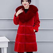 女性 冬 ソリッド コート,キュート レッド ブラック グレイ コットン 長袖 ミディアム