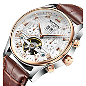 KINYUED Hombre Reloj de Vestir Reloj Esqueleto Reloj de Pulsera El reloj mecánico Cuerda Automática Calendario Cronógrafo Resistente al