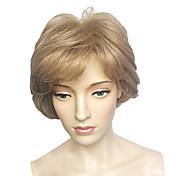 Mujer Pelucas sintéticas Corto Ondulado Medio Rubio Parte lateral Con flequillo Peluca de cosplay Peluca de Halloween Peluca de carnaval