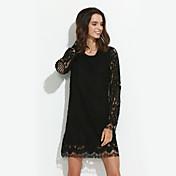 Mujer Vaina / Encaje Vestido Noche / Casual/Diario / Tallas Grandes Vintage / Chic de Calle,Un Color Escote Redondo Sobre la rodillaManga