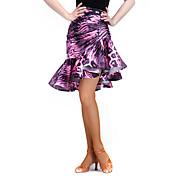 Baile Latino Pantalones y Faldas Mujer Entrenamiento Licra Terciopelo 1 Pieza Cintura Media Falda