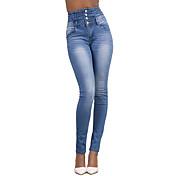 レディース シンプル ストリートファッション ハイライズ タイト 高弾性 ジーンズ パンツ ホリデー ファッション ソリッド