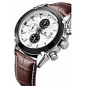 MEGIR Hombre Reloj de Pulsera Reloj de Moda Reloj Deportivo Cuarzo Reloj Casual Cuero Auténtico Banda Lujo Vintage Casual Múltiples