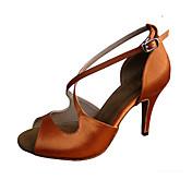Dansesko(Mørkebrun) -Kan tilpasses-Personligt tilpassede hæle-Damer-Latin Jazz Salsa Swingsko