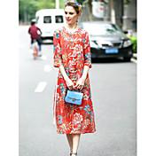 Mujer Recto Vestido Noche Tejido Oriental,Floral Escote Redondo Midi 3/4 Manga Seda Lino Primavera Verano Tiro Medio Microelástico Medio