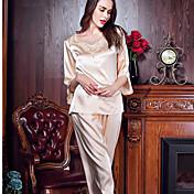 Mujer Pijamas,Un Color Medio Seda Rosa Beige