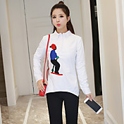2017新しい春緩い刺繍プルオーバー長袖の白いシャツ女性の潮