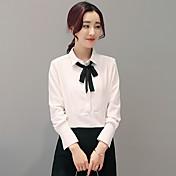 韓国の野生弓のレースの襟長袖シャツ2017春新しい女性