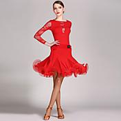 ラテンダンス セット 女性用 ダンスパフォーマンス レース ビスコース フリル 長袖 ナチュラルウエスト レオタード スカート