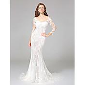 Trompeta / Sirena Corte Encaje Vestido de novia con Apliques por LAN TING BRIDE®