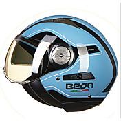 beon medio cara calle motocicleta casco abs gafas transpirables casco color azul