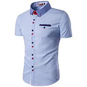 Hombre Simple Casual/Diario Trabajo Tallas Grandes Verano Camisa,Cuello Camisero Bloques Manga Larga Algodón Rayón Azul Rojo Blanco Fino