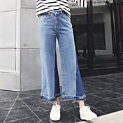 春の新しいヒットカラーステッチウエストワイドレッグジーンズ女性の韓国語バージョンは、薄い緩いズボンの潮9ポイントホーンでした