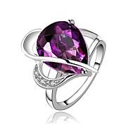 指輪 パーティー 日常 カジュアル ジュエリー クリスタル ジルコン 銅 ゴールドメッキ 指輪 1個,7 8 パープル