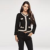 blazer de invierno para mujer, sólido soporte manga larga blanco / negro pequeño abrigo de viento dulce
