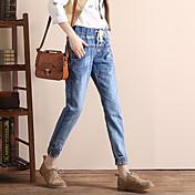 サインジーンズ女性のハーレムパンツかなり薄いストッキングの韓国人女性緩いビームレッグカフ