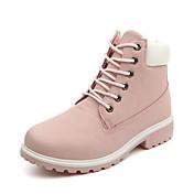 Mujer Zapatos PU Invierno Otoño Innovador Botas de Moda Botas de Combate Botas Paseo Tacón Bajo Dedo redondo Con Cordón para Casual Al