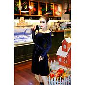 大規模なウエストのドレスのボトミングに置くセクシーな新しいナイトクラブの女性の金のベルベットの襟ネット糸継ぎに署名