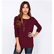 la primavera y el verano ebay2016 a aliexpress v posterior profundo cabestro de manga larga cuello redondo camiseta de color sólido