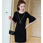 2017新しい大きなサイズの女性通勤ラウンドネック夏韓国の半袖のドレス脂肪mm底潮