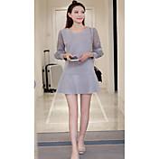 Mujer Línea A Vestido Ropa Cotidiana Clásico,Color sólido Escote Redondo Sobre la Rodilla, Mini Manga Larga N/A Verano Alta cintura Rígido