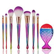 8pcsSistemas de cepillo Cepillo para Colorete Pincel para Sombra de Ojos Cepillo Corrector Cepillo para Polvos Cepillo para Base Contour