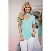eBayのAliexpressのは、ヨーロッパとアメリカの女性を望みます' sのホットな新しいソリッドカラーぶら下げ首ラウンドネック半袖Tシャツ