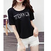 サイン2017夏の新しい韓国の女性の野生韓国のファンルーズコットン半袖Tシャツ刺繍文字