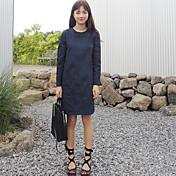 大きなポケット大きなスポットと韓国シックなスタイルのラウンドネック長袖のドレス