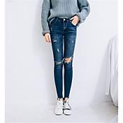 サイン膝の穴スリムだった薄い鉛筆のズボンの足9ポイントのジーンズのストレッチ2017韓国語バージョン