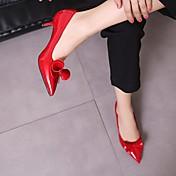 Mujer Tacones Talón Descubierto Cuero de Cerdo Primavera Invierno Casual Negro Beige Rojo Rosa 5 - 7 cms
