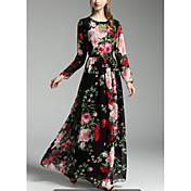 Mujer Corte Swing Vestido Festivos Noche Sofisticado,Floral Estampado Escote Redondo Maxi Manga Larga Primavera Otoño Media cintura