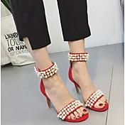 Mujer-Tacón Stiletto-Confort-Sandalias-Informal-Ante-Negro Rojo