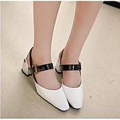 Mujer-Tacón Robusto-Confort-Zuecos y pantuflas-Informal-PU-Blanco Negro