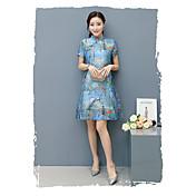 潮gを印刷卓フィギュア女性中国風のレトロな改善チャイナドレス2017春新半袖シルクドレス