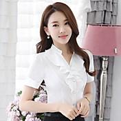 Mujer Trabajo Camisa, Escote Chino Un Color Poliéster