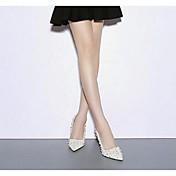 Mujer-Tacón Stiletto-Confort-Tacones-Informal-PU-Blanco