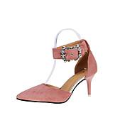 Mujer Sandalias Zapatos del club PU Primavera Verano Casual Vestido Fiesta y Noche Zapatos del club Pedrería Hebilla Tacón StilettoNegro