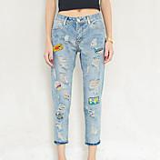 優れた顧客が本当にジーンズ女性の光の中で2017年春に新しいバッジパッチの穴を作ります