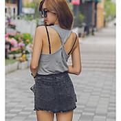 レディース 日常 デート 夏 Tシャツ,セクシー Uネック 純色 詳細情報なし ノースリーブ ミディアム