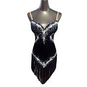 Baile Latino Vestidos Mujer Rendimiento Terciopelo Cristales/Rhinestones Borla Sin Mangas Cintura Media Vestido