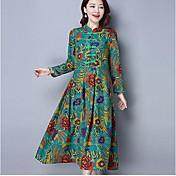 2017春の新しいレトロな国家の風の襟のプレートのボタンの綿のドレス9点の袖のドレス大きなスイング
