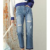 Signo nueva versión coreana fue pantalones de agujero delgado suelta nueve puntos harén pantalones hembra pequeña recta