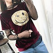 17スマイリーの新しい春と夏の符号スポット半袖Tシャツの女性の韓国語バージョンは、ゴールドスパンコールのついたベルベットのシャツに直面しています