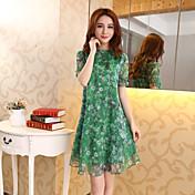 2017夏の新しい韓国のラウンドネック半袖シルクシフォンのドレス緩い大きなヤードドレス