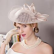 フラックス ラインストーン 羽毛 フラワー - 魅力的な人 帽子 1個 結婚式 パーティー アウトドア かぶと