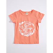 女の子 日常 幾何学模様 コットン Tシャツ 夏 半袖 オレンジ